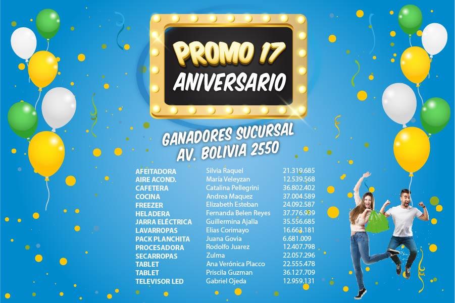 Ganadores Sucursal Av. Bolivia 2550