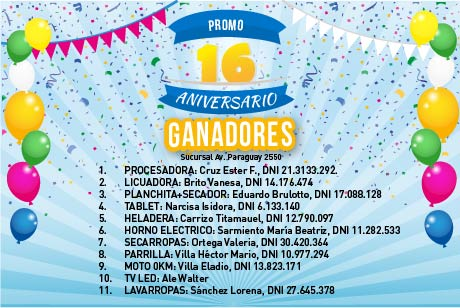 Ganadores Promo 16 Aniversario Av. Paraguay 2550