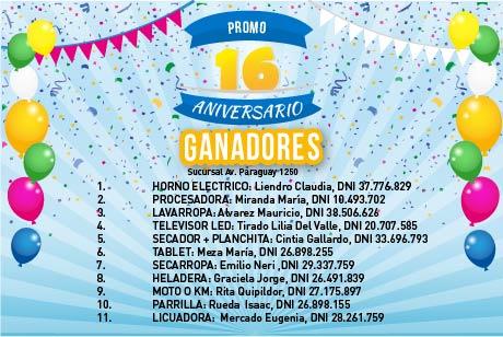 Ganadores Promo 16 Aniversario Av. Paraguay 1250