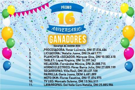 Ganadores Promo 16 Aniversario Av. Bolivia 2550
