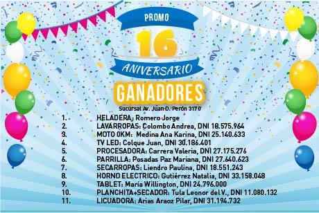 Ganadores Promo 16 Aniversario Av. Juan D. Perón 3170