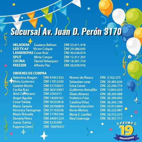 Ganadores Sucursal Av. Juan D. Perón 3170